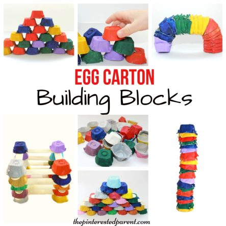Egg Carton building blocks for kids - Engineering & STEM activities - kid's arts, crafts, learning & activities