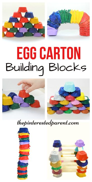 Egg Carton building blocks for kids - Engineering & STEM activities - kid's arts, crafts, learning & activities with recyclables