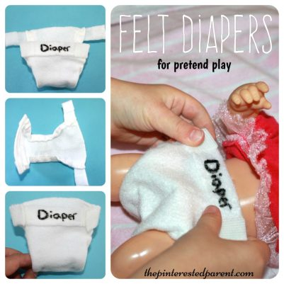 Felt diapers for dolls & pretend play - kid's life skills - arts & crafts