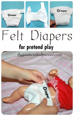 Felt diapers for pretend play - kid's life skills - arts & crafts
