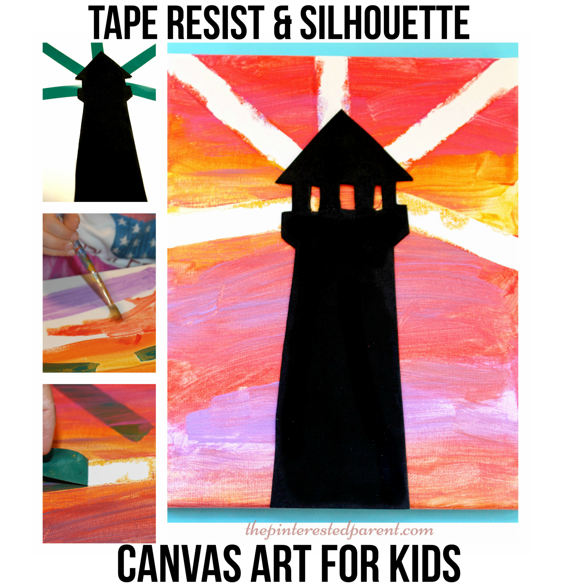Tape Resist & Silhouette Lighthouse – The Pinterested Parent