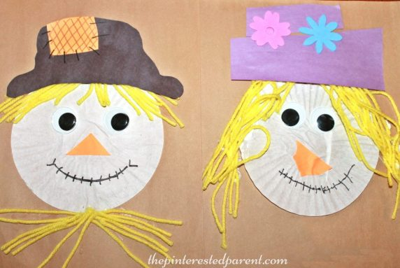 Cupcake Liner Scarecrow Craft - fall autumn arts & crafts for kids . Halloween