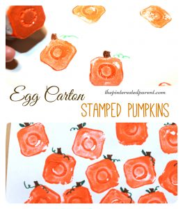 egg carton pumpkin printing stamps - fall autumn halloween arts and crafts paint projects for kids