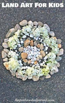 Land art - arts crafts with nature. Kids outdoor activities