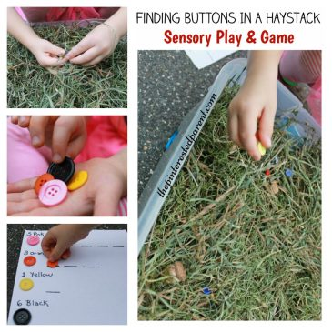 Like Finding Buttons in a haystack sensory bin play & scavenger hunt game - great for an autumn, fall or Halloween kid's - counting & color recognition activity.