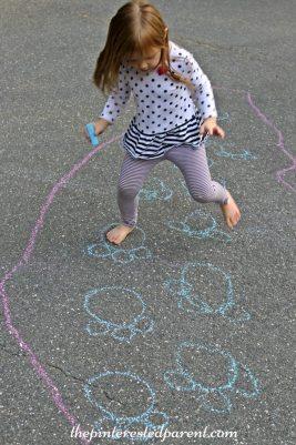 Sidewalk Chalk Games & Activities for kids. Fun outdoor play spring, summer, fall.