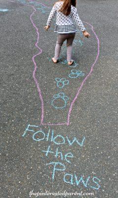 Sidewalk Chalk Games & Activities for kids. Fun outdoor play spring, summer, fall
