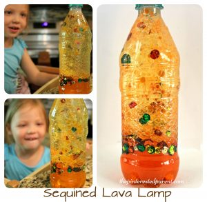Fall sequin lava lamp - science experiments with oil & water for kids