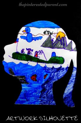 What a wonderful way to frame and display a beautiful piece of artwork for your child. Make a silhouette and have have your child paint or draw their favorite things or a scene from their dream. Kid's arts and crafts - preschooler - process art