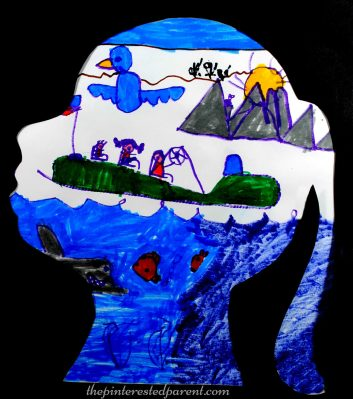 Make a silhouette and have have your child paint or draw their favorite things or a scene from their dream. Kid's arts and crafts - preschooler - process art