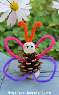 Pinecone and pipe cleaner animals. Check out our other pine cone animals. See our other pine cone animals. These are cute and easy to make. Use clay or play dough for this butterfly craft for kids. arts and crafts. Nature