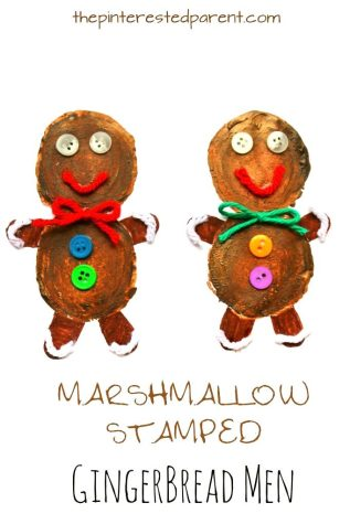 Use jumbo marshmallows to make these adorable Christmas and winter crafts - paint stamp to make a snowman, gingerbread man, or a Rudolph the red nosed reindeer. Arts and crafts for kids