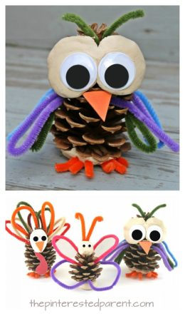 Pinecone and pipe cleaner animals. These are cute and easy to make. Use clay or play dough for these Owl, butterfly, turkey craft for kids. Fall or autumn arts and crafts. Nature