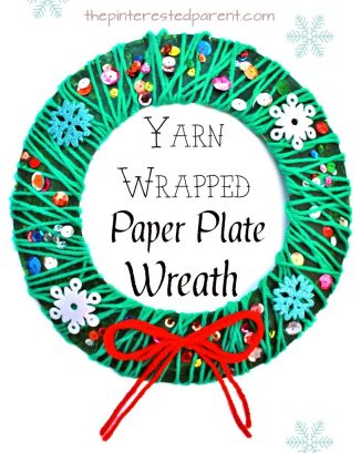 Yarn wrapped paper plate Christmas wreath - winter kid's arts and crafts an fine motor skill activity
