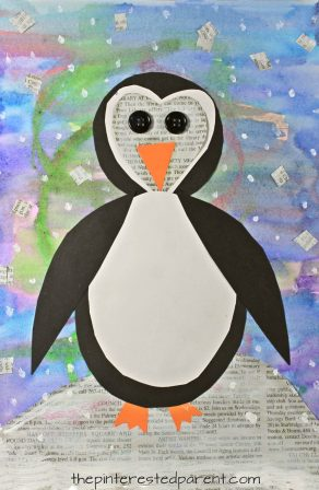 Mixed media penguin art. Winter and Christmas arts and crafts for kids and preschoolers. Watercolor painting, newspaper and construction paper shapes