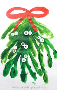 Mistletoe painting - Christmas and winter arts and crafts for kids and preschoolers. Button crafts