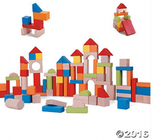 Wooden Building blocks from Oriental Trading. Great introductory to engineering, colors and shapes for kids.