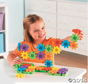 These rotating gears from Oriental Trading snap together easily and are a ton of fun for your little engineers. Fun to kids to build with and watch. Great for problem solving.