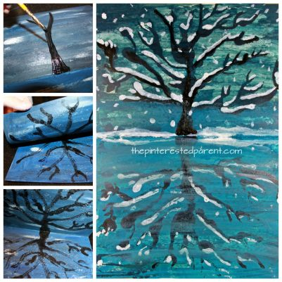 Try this step by step paint and fold print reflection landscape. Winter snowy tree and lake painting. A great art project for kids or adults. Arts and crafts.