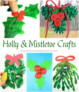 Holly and mistletoe arts & crafts. Winter and Christmas paint and craft projects for kids and preschoolers.