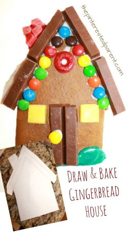 Draw and bake your own gingerbread house. This is a fun idea for the kids for Christmas or winter. This would be great for a party. Holiday arts and crafts for preschoolers or kids. Baking, cooking with kids