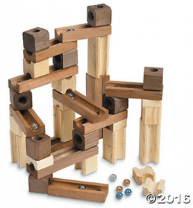 Wooden marble ramp from Oriental Trading. Great engineering toy for the kids.