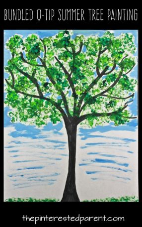 Easy Bundled Q-tip stamped summer tree paintings. Check out our trees for every season. Winter, spring, summer and fall arts and craft project for kids. Make cherry blossoms or beautiful autumn leaves. Great for toddlers or preschoolers