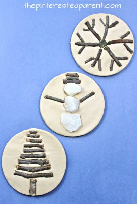 Sticks and stones winter nature crafts - use clay, salt dough or play dough to set these pretty seasonal arts and crafts projects for kids, rock snowman, twig snowflake & Christmas tree