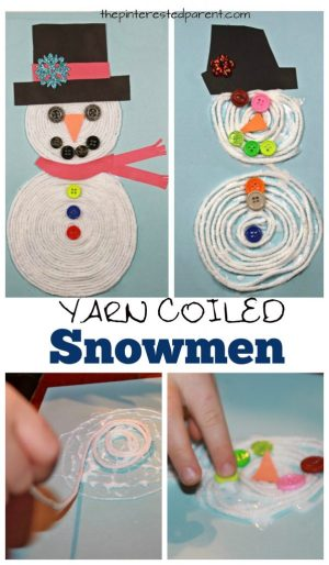 Coiled Yarn Snowman Craft - kid's arts and crafts for Christmas and winter. A great fine motor skill activity. Button embellishments