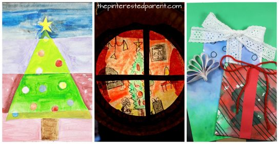 11 beautiful art projects for kids for the winter and Christmas. Holiday arts and crafts projects, painting, mixed media, watercolor, shape crafts