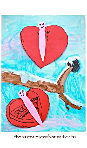 Mixed media heart shaped love butterflies and birds for Valentine's Day. Watercolor, acrylic paint and construction paper and markers. Arts and crafts for kids