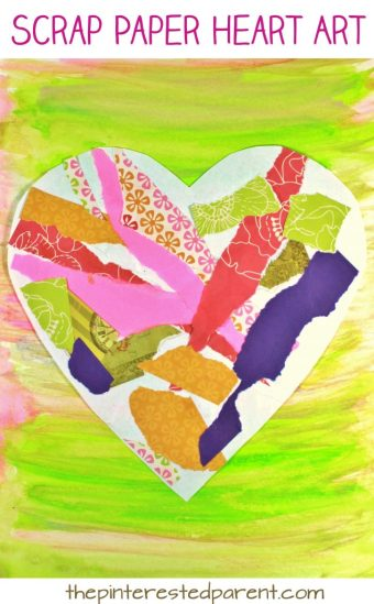 Torn scrap book paper heart craft for kids. Easy & pretty Valentine's Day mixed media art project for preschoolers and kids. Painted newspaper arts & crafts