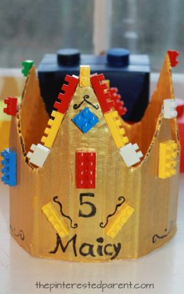 Cardboard Lego crown for a Lego themed birthday party for kids. Recyclables, arts and crafts