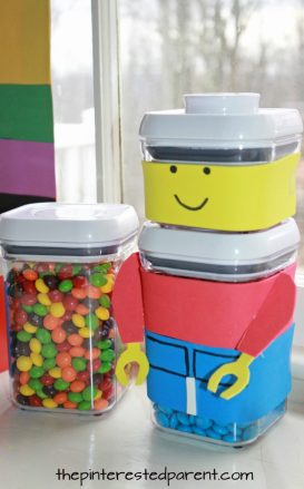 Lego man candy holder for Lego themed birthday party. Kid's food and dessert table - party ideas, decorations, food and activities