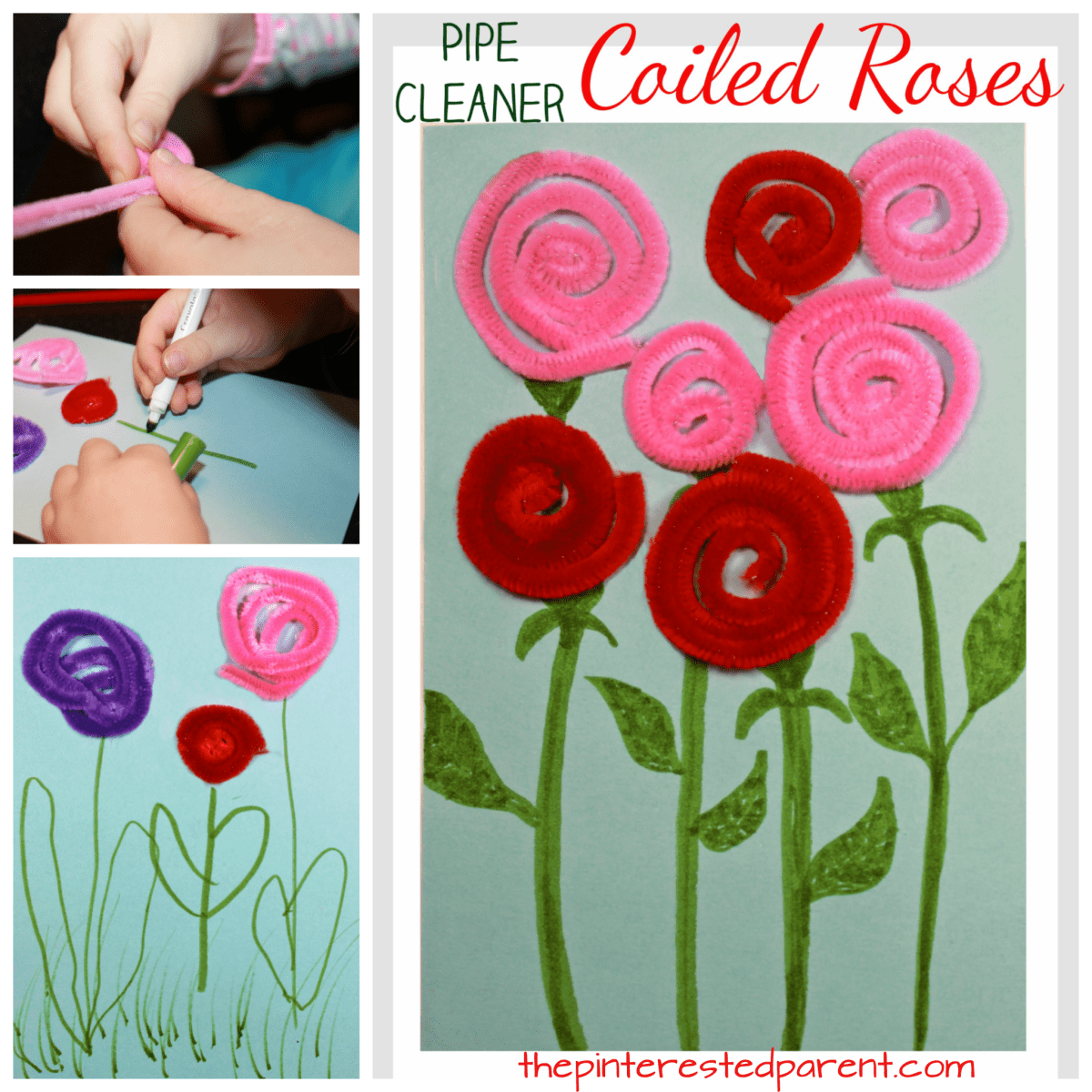 Yarn and Pipe Cleaner Coiled Roses
