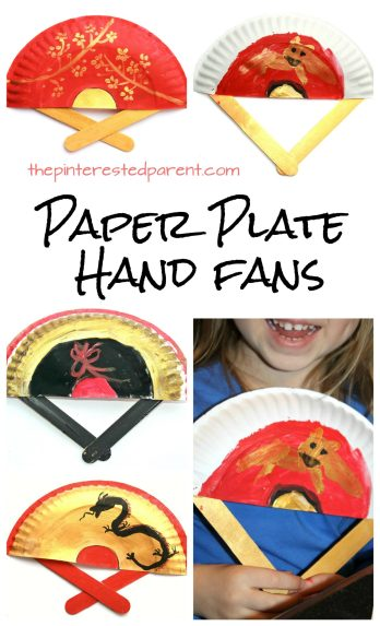 Painted Paper Plate Hand Fans. Great for Chinese Lunar New Year or Vietnamese Tet. Kid's & preschooler cultural arts and crafts ideas.
