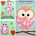 Construction paper mosaic owl craft - easy arts and craft for kids and preschoolers.