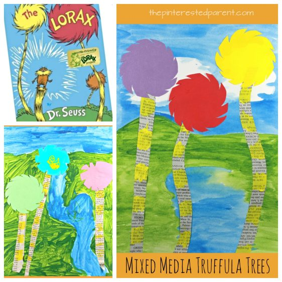 Mixed media truffula tree art inspired by Dr. Seuss' 'The Lorax'. Kid's arts and crafts,onspired by books. Watercolor painting, newspaper, construction paper, markers