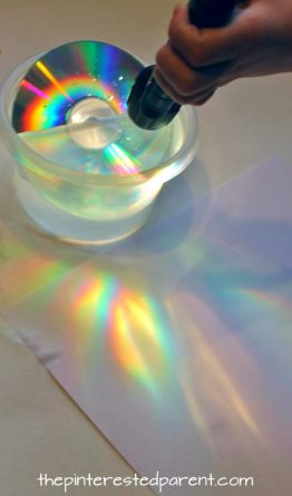 Make a rainbows using a CD and a flashlight or sunlight. Simple science fun for preschoolers and kids