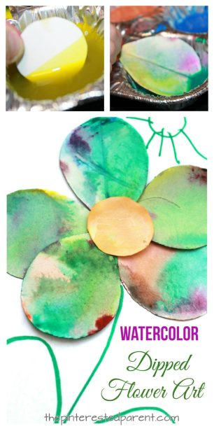Watercolor dipped flower art. Spring arts and crafts projects for kids. Beautiful and fun process. Watercolor Dipped Flowers