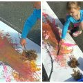 Painting with nature. Paint with sticks, leaves, rock etc.. Kid's play and process art for the spring, summer or fall.