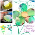 Watercolor dip painted flower art. Spring arts and crafts projects for kids. Beautiful and fun process