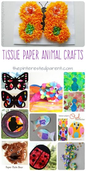 Awesome Tissue paper animals arts and crafts projects for kids.