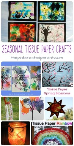 Awesome seasonal tissue paper arts and crafts projects for kids.