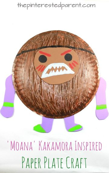 'Moana' Kakamora inspired paper plate coconut pirate craft. Character arts and crafts for kids.
