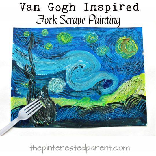 van gogh inspired fork scrape painting the pinterested parent