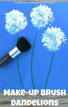 Painting dandelions with make-up brushes. Flower arts and crafts for kids.