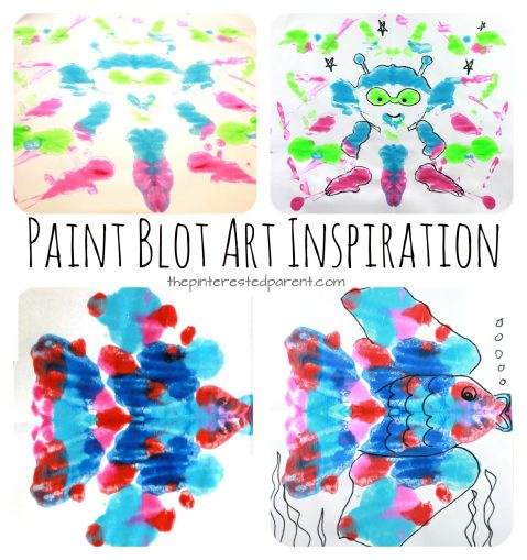 Paint Blot art inspirations - A fun and creative way to prompt kids to create. Arts and crafts for kids