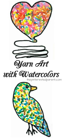 Inspired by the book 'Art & Max'. Yarn art and watercolor painting. Arts and crafts projects for kids.