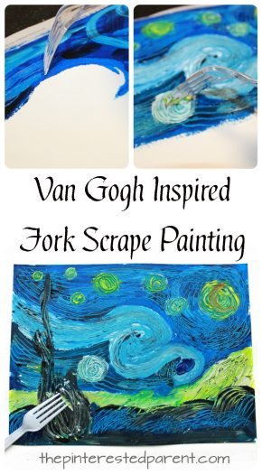Van Gogh inspired fork scrape painted The Starry Night . Art and painting projects for kids. Famous artist inspired arts and crafts
